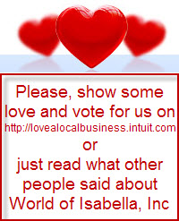 Click here and vote for World of Isabella in Love a Local Business